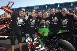2015 Superbike champion Jonathan Rea, Kawasaki, celebrates with his team