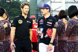 Romain Grosjean, Lotus F1 Team with Max Verstappen, Scuderia Toro Rosso on the drivers parade