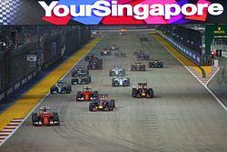 Sebastian Vettel, Ferrari SF15-T al comando alla partenza dela gara