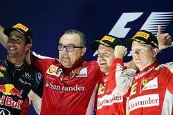 Podium: winner Sebastian Vettel, Ferrari, second place Daniel Ricciardo, Red Bull Racing, third place Kimi Raikkonen, Ferrari