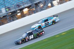 Kyle Busch, Joe Gibbs Racing Toyota and Joey Gase, Jimmy Means Racing Chevrolet