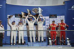 LMGTE Pro podium: winners Richard Lietz, Michael Christensen, Porsche Team, second place Frédéric Makowiecki, Patrick Pilet, Porsche Team, third place Davide Rigon, James Calado, AF Corse