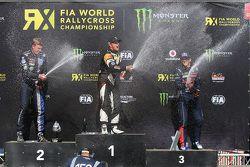 Podium: winner Petter Solberg, second place Johan Kristoffersson, third place Timmy Hansen