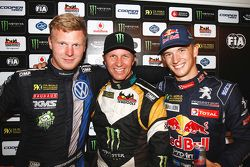 Podium: Petter Solberg, vainqueur, entre Johan Kristoffersson, 2e, et Timmy Hansen, 3e