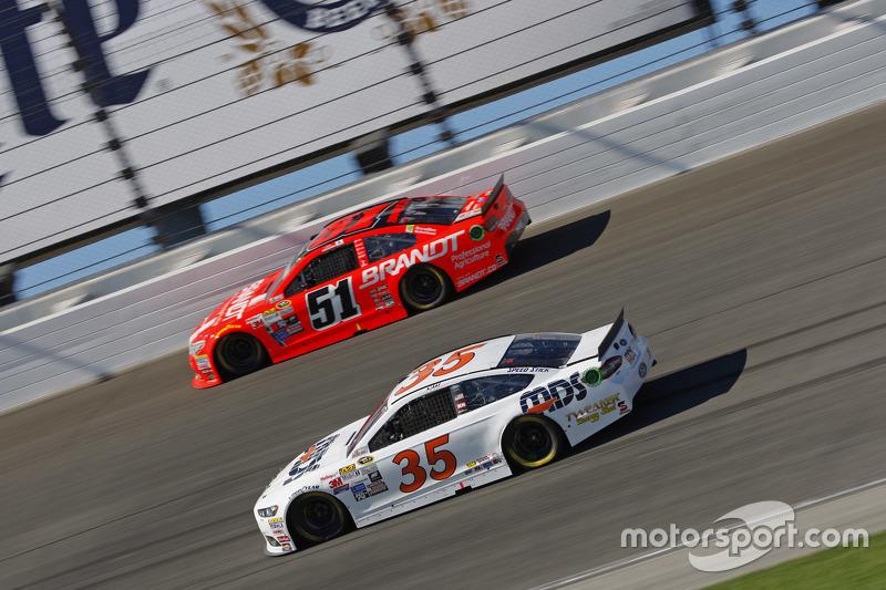 Cole Whitt, Front Row Motorsports Ford; Justin Allgaier, HScott Motorsports Chevrolet