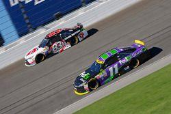 Denny Hamlin, Joe Gibbs Racing Toyota and Matt Dibenedetto, BK Racing Toyota