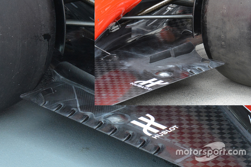 Ferrari's current floor slots with inset of previous solution