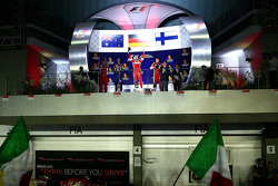 Podium: race winner Sebastian Vettel, Ferrari, second place Daniel Ricciardo, Red Bull Racing, third place Kimi Raikkonen, Ferrari