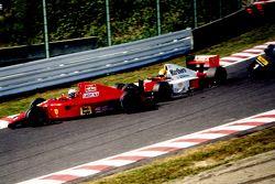 Alain Prost, Ferrari and Ayrton Senna, McLaren collide in the first corner