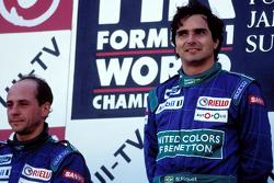 Podio: il vincitore Nelson Piquet, Benetton, secondo Roberto Moreno, Benetton