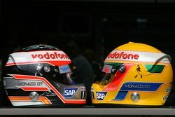 Helmets of Fernando Alonso, McLaren Mercedes and Lewis Hamilton, McLaren Mercedes, with Steinmetz Di