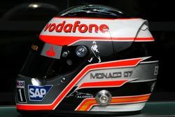 Casco de Fernando Alonso, McLaren Mercedes, con Steinmetz Diamonds