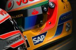 Fernando Alonso, McLaren Mercedes and Lewis Hamilton, McLaren Mercedes , helmets, with Steinmetz Dia