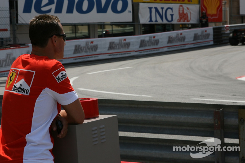 """Michael Schumacher watches the session from """"La Rascasse ..."""