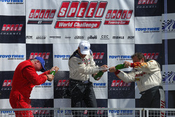 Podium celebration: race winner Tommy Archer, second place finisher Lou Gigliotti, and third place f