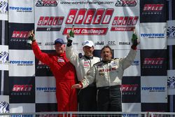 Podium celebration: race winner Tommy Archer, second place finisher Lou Gigliotti, and third place finisher Doug Peterson