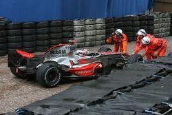 Fernando Alonso, McLaren Mercedes, MP4-22 has an off-track excursion