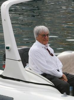 Bernie Ecclestone, on a boat