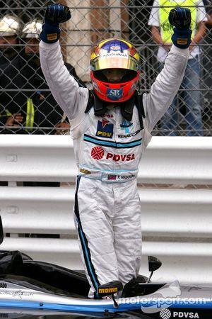 Race winner Pastor Maldonado celebrates