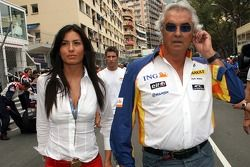 Flavio Briatore, Renault F1 Team, Team Chief, Managing Director and his fiancee, Elisabetta Gregoraci, Lingerie Model