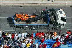Машина Адриана Сутиля после аварии, Spyker F1 Team