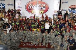 Victory lane: race winner Casey Mears celebrates