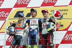 Podium: 1. Valentino Rossi, 2. Dani Pedrosa, 3. Alex Barros
