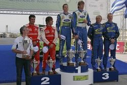 Podium: winners Marcus Gronholm and Timo Rautiainen, second place Sébastien Loeb and Daniel Elena, t