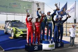 Podium: winners Marcus Gronholm and Timo Rautiainen, second place Sébastien Loeb and Daniel Elena, t