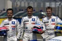 Séance photo pour laTeam Peugeot Total: Pedro Lamy, Stéphane Sarrazin, Sébastien Bourdais