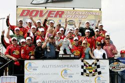 Victory lane: race winner Martin Truex Jr. celebrates