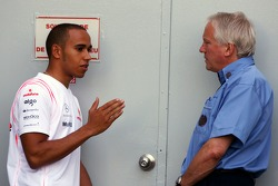 Lewis Hamilton, McLaren Mercedes and Charlie Whiting, FIA Safty delegate, Race director & offical starter
