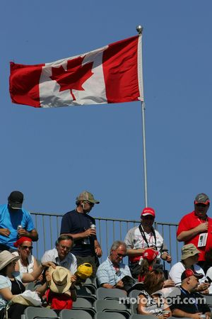 Fans in the grandstand with the Canadian flag