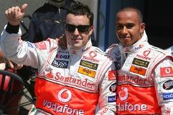 Fernando Alonso, McLaren Mercedes gets 2nd place and Lewis Hamilton, McLaren Mercedes gets pole position