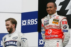 1st, Lewis Hamilton, McLaren Mercedes, MP4-22 and 2nd, Nick Heidfeld, BMW Sauber F1 Team, F1.07