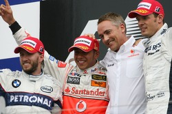 Winner, 1st, Lewis Hamilton, McLaren Mercedes, MP4-22, 2nd, Nick Heidfeld, BMW Sauber F1 Team, F1.07, 3rd, Alexander Wurz, Williams F1 Team, FW29 and Martin Whitmarsh, McLaren, Chief Executive Officer