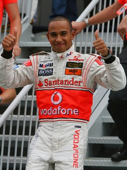 1st place Lewis Hamilton, McLaren Mercedes celebrates with his father Anthony Hamilton