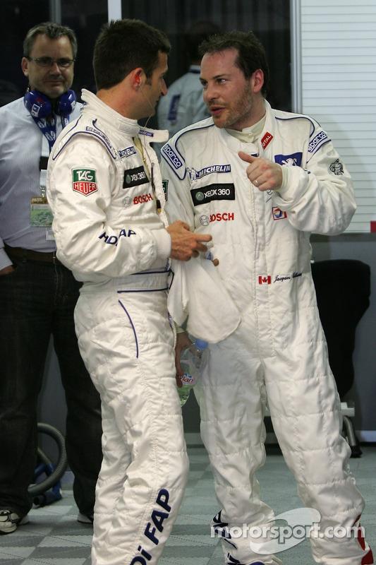 Team Peugeot Total celebrates provisional pole position of Stéphane Sarrazin