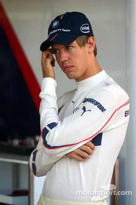 Sebastian Vettel, Test Driver, BMW Sauber F1 Team in the Team Garage