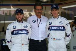 Sebastian Vettel, Test Driver, BMW Sauber F1 Team with Dr. Mario Theissen, BMW Sauber F1 Team, BMW Motorsport Director and Nick Heidfeld, BMW Sauber F1 Team at a BMW phot call