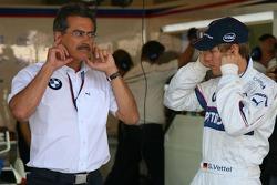 Sebastian Vettel, Test Driver, BMW Sauber F1 Team and Dr. Mario Theissen, BMW Sauber F1 Team, BMW Motorsport Director in the Team Garage
