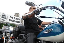 A Harley Davidson at the parade start