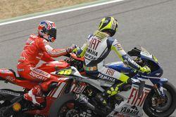 1. Casey Stoner. Ducati Team; 2. Valentino Rossi, Yamaha Factory Racing