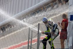 Podium: champagne for second place Valentino Rossi