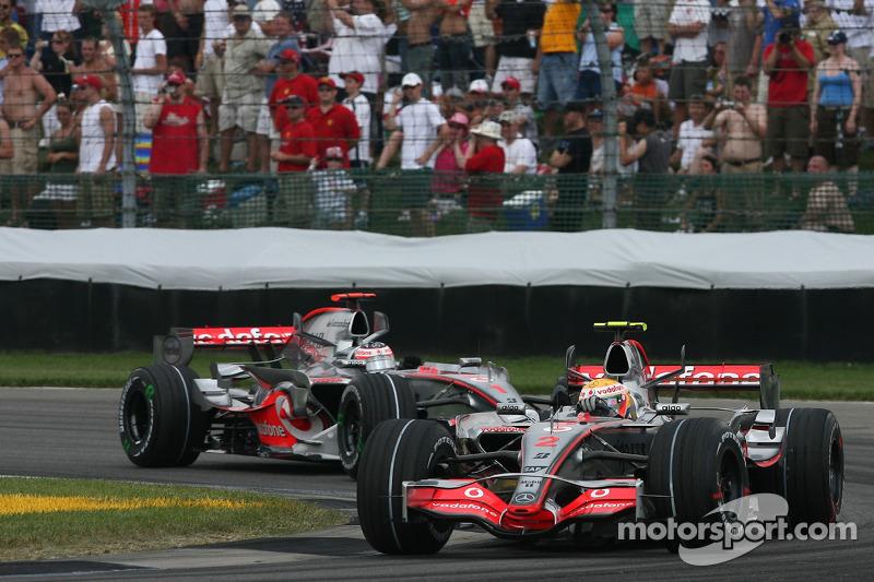 Lewis Hamilton lideró por delante de Alonso el doblete que McLaren logró en la última carrera de F1 en Indianápolis, en 2007