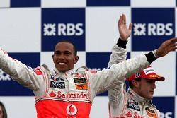 1st place Lewis Hamilton, McLaren Mercedes and Fernando Alonso, McLaren Mercedes