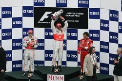 2nd palce Fernando Alonso, McLaren Mercedes with 1st place Lewis Hamilton, McLaren Mercedes and 3rd