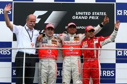 2nd place Fernando Alonso, McLaren Mercedes with 1st place Lewis Hamilton, McLaren Mercedes and 3rd