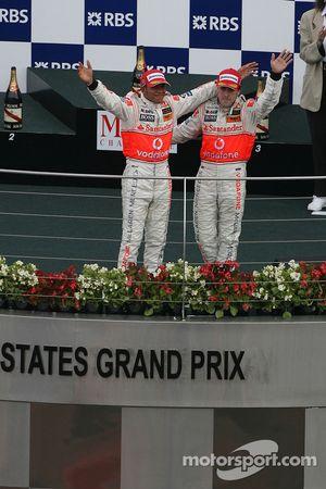 1st place Lewis Hamilton, McLaren Mercedes and 2nd place Fernando Alonso, McLaren Mercedes