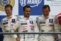 Podium LMP1: seconde place Pedro Lamy, Stéphane Sarrazin, Sébastien Bourdais